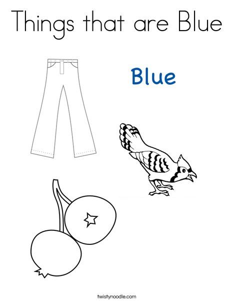 Things That Are Blue Coloring Page From Twistynoodle Com