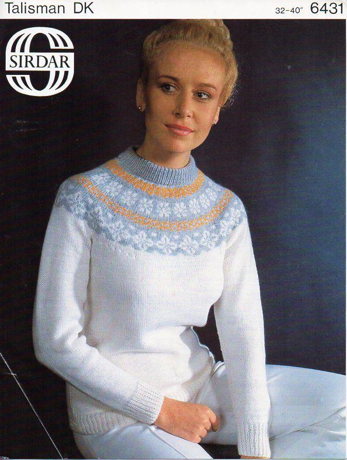 vintage ladies Fair isle sweater knitting pattern pdf DK womens ...
