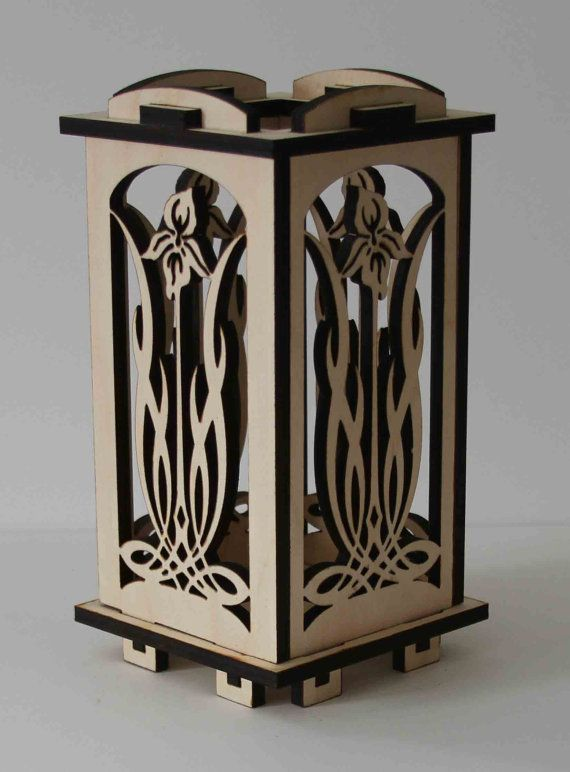 Laser Cut Wood Luminarie Tealight Lamp  Iris by ellenstarr on Etsy, $39.00