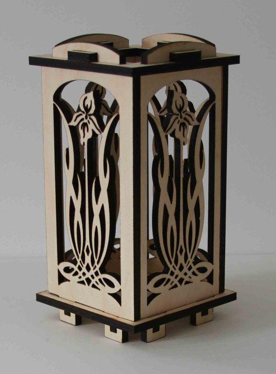 Laser Cut Wood Luminarie Tealight Lamp  Iris by ellenstarr on Etsy, $39.00