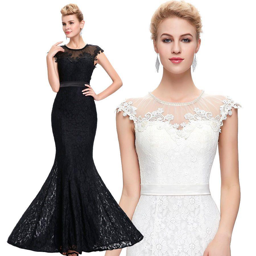black mermaid wedding bridesmaid dress lace evening ball gown