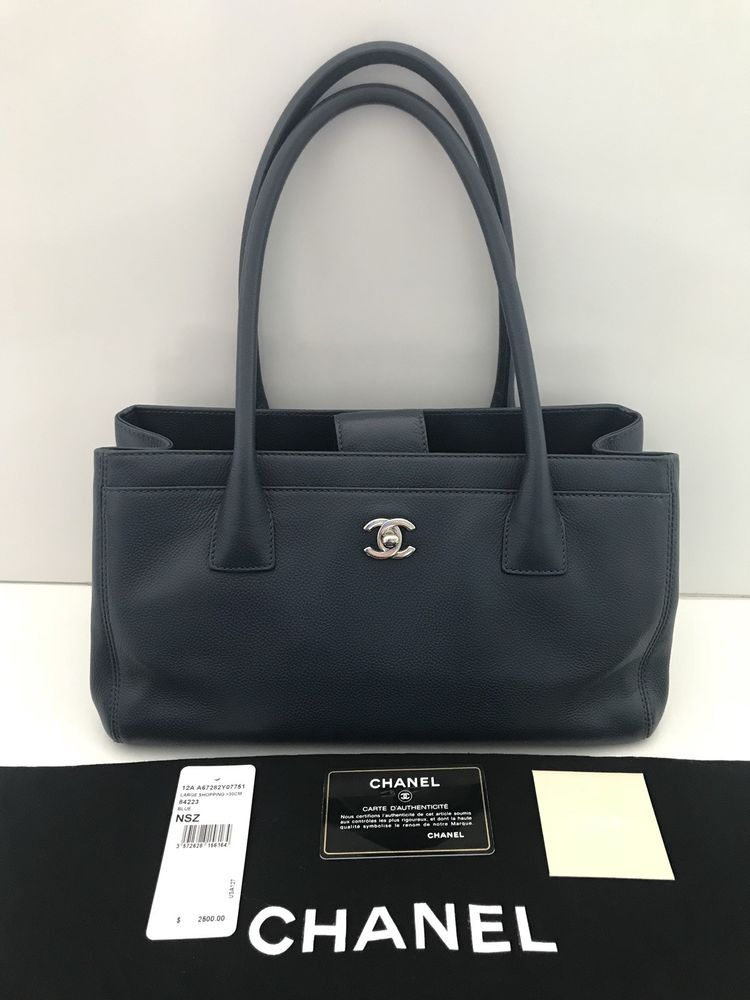 61296065644568 CHANEL Blue Caviar Leather Large Shopping 30cm Tote Bag Lightly Worn ...