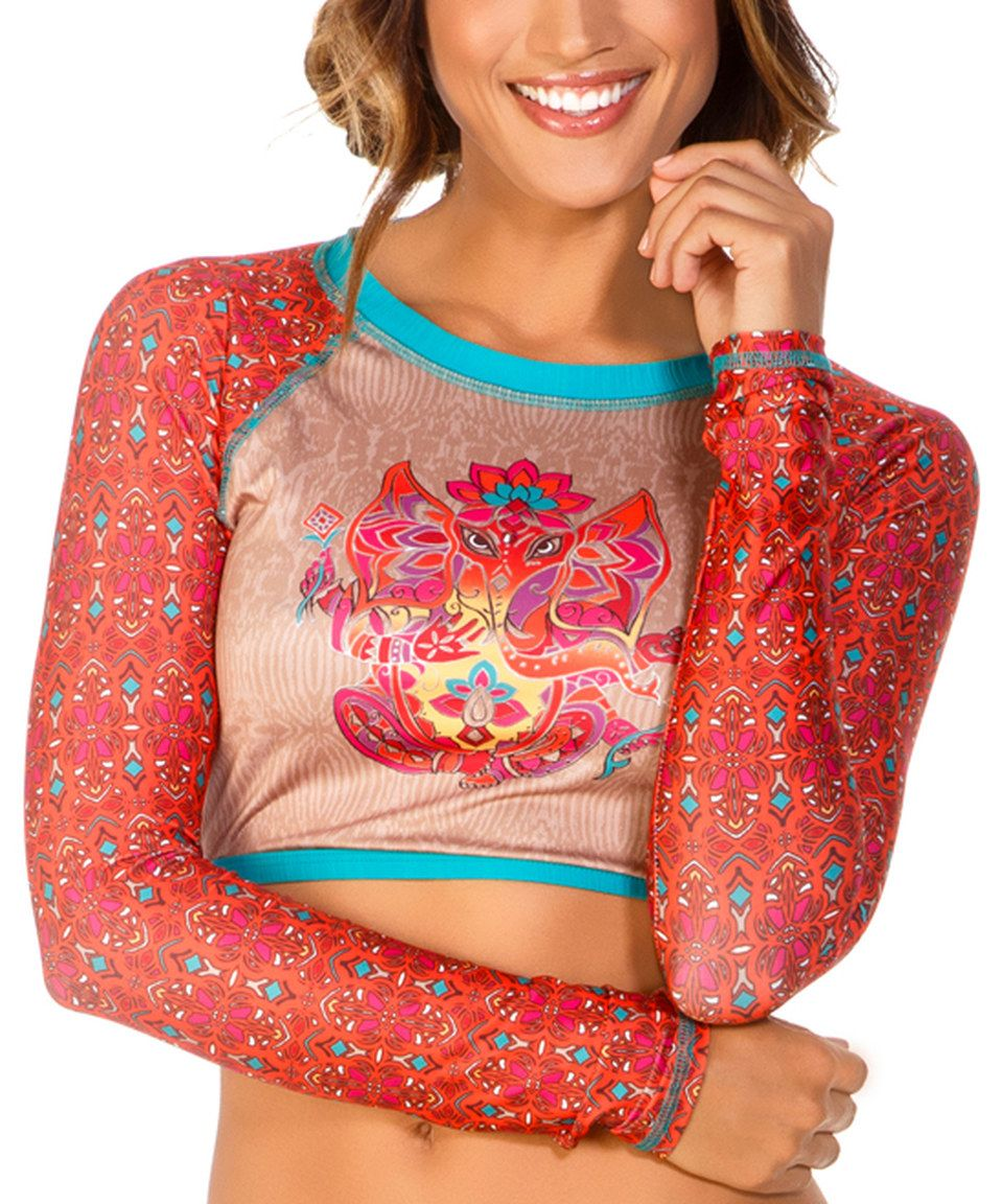 Look what I found on #zulily! Eco Peace Coral & Turquoise Geometric Holi Rashguard by Eco Peace #zulilyfinds