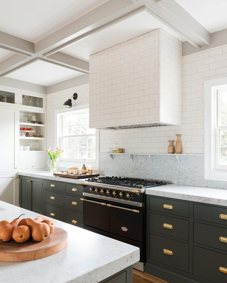 Dark Base Cabinets White Uppers In