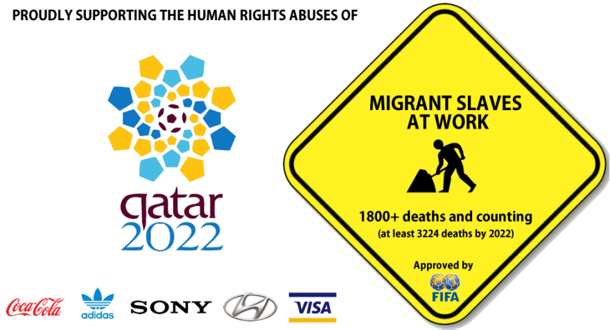 People Make Anti Logos To Urge Sponsors To Withdraw From Qatar 2022 World Cup World Cup Protest Posters Qatar