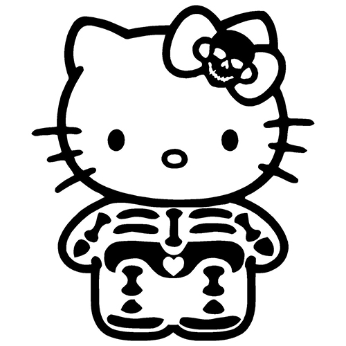 Hello Kitty Skeleton Laptop Car Truck Vinyl Decal Window Sticker - Hello kitty custom vinyl decals for car