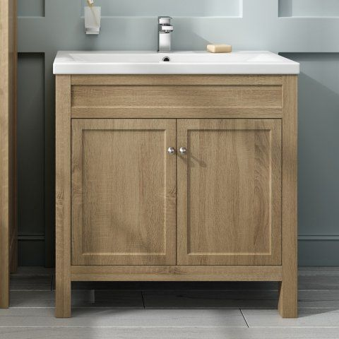 Bathroom Cabinets Melbourne 800mm melbourne oak effect double door floor standing vanity unit