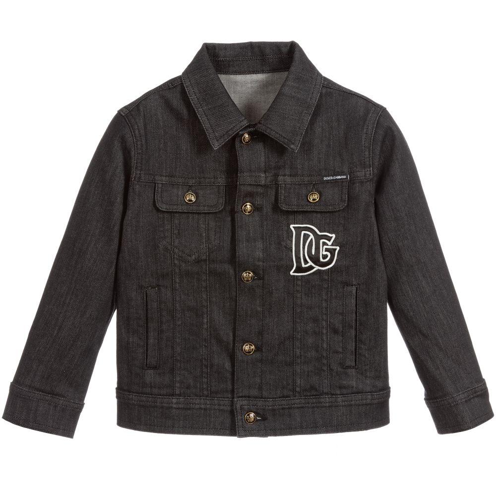 Boys Black Denim Logo Jacket Black Denim Jackets Black Denim Jacket [ 1000 x 1000 Pixel ]