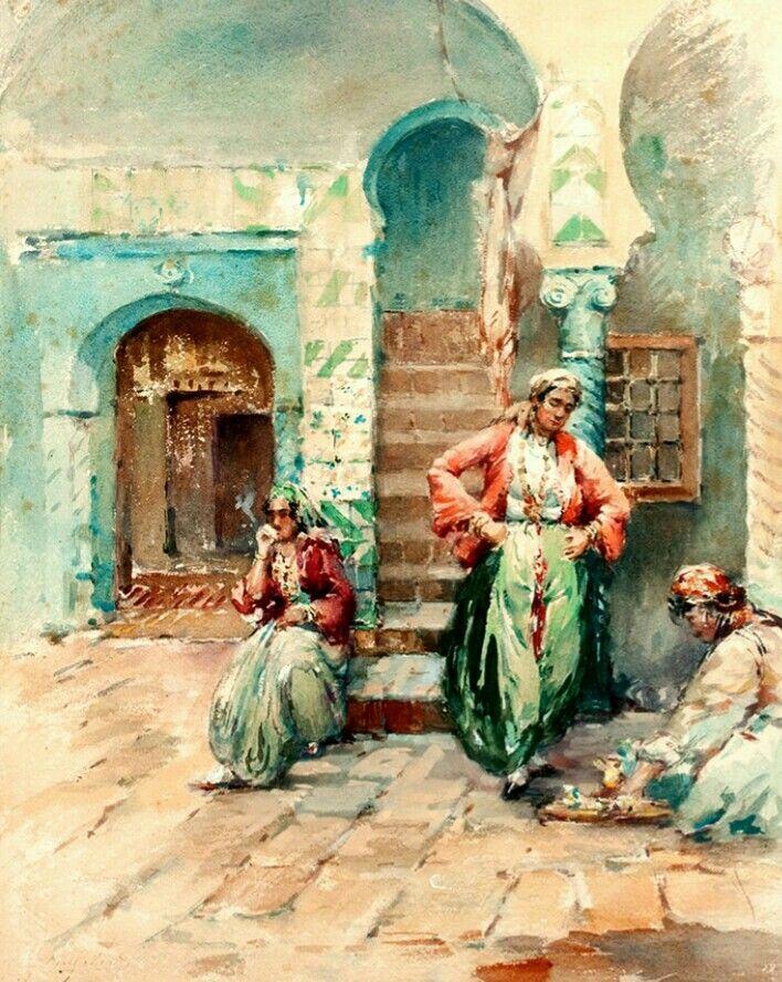Algerie Peintre Francais Gilbert Galland 1870 1956 Aquarelle