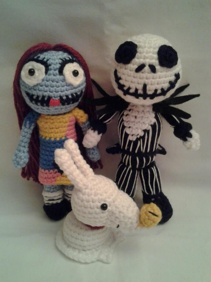 Nightmare Before Christmas - Jack, Sally, Zero - Crochet creation by Sherily Toledo's Talents