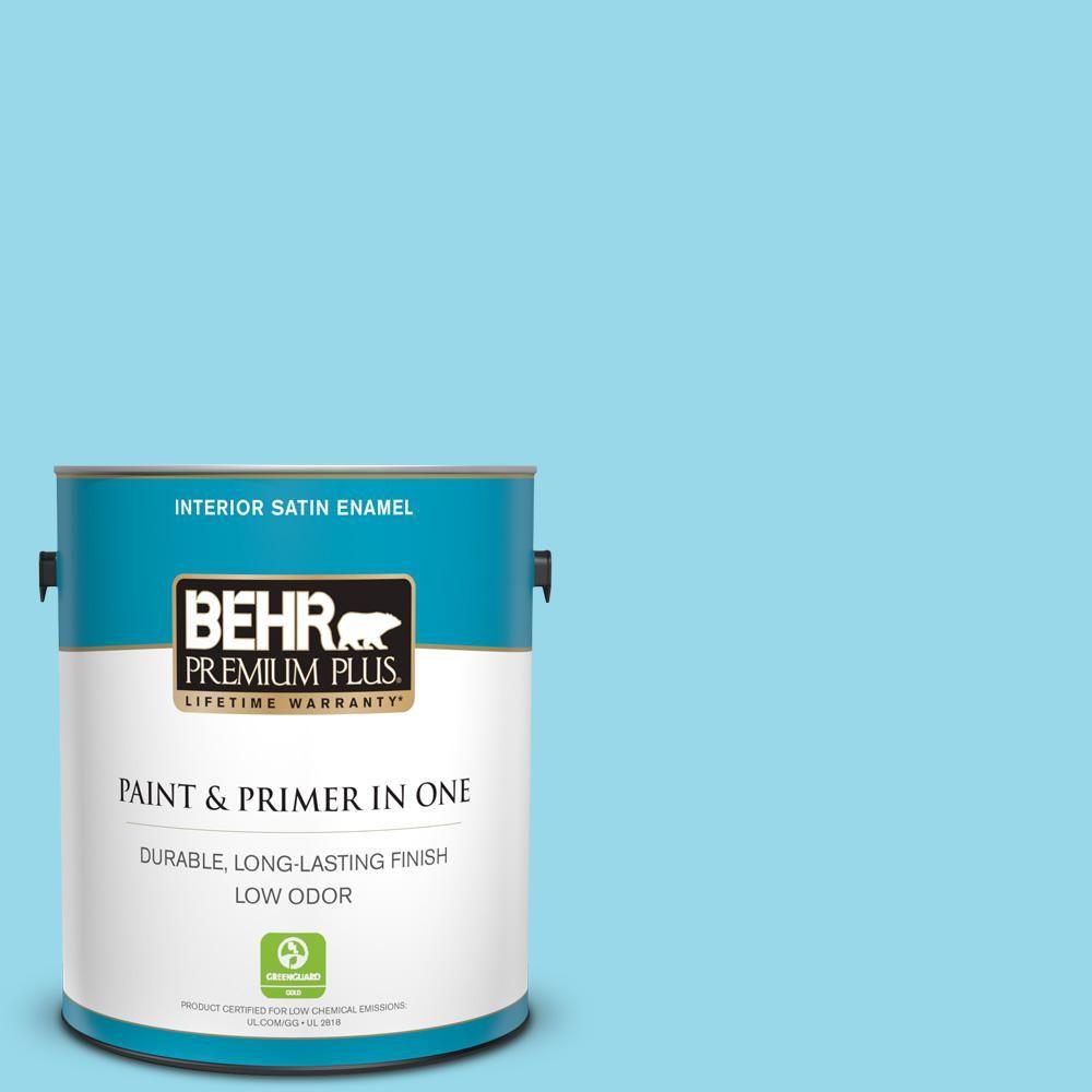 Behr Premium Plus 1 Gal P490 2 Blue Sarong Satin Enamel Low Odor Interior Paint And Primer In One 705001 Interior Paint Behr Behr Marquee