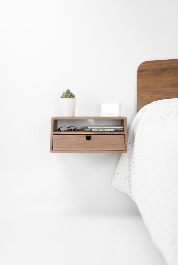 Side Table Met Lade.Walnut Floating Nightstand Bedside Table Drawer In Solid Walnut Mid