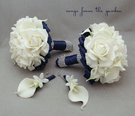 Navy Wedding Flower Package Bridesmaid Bouquets Groomsman ...