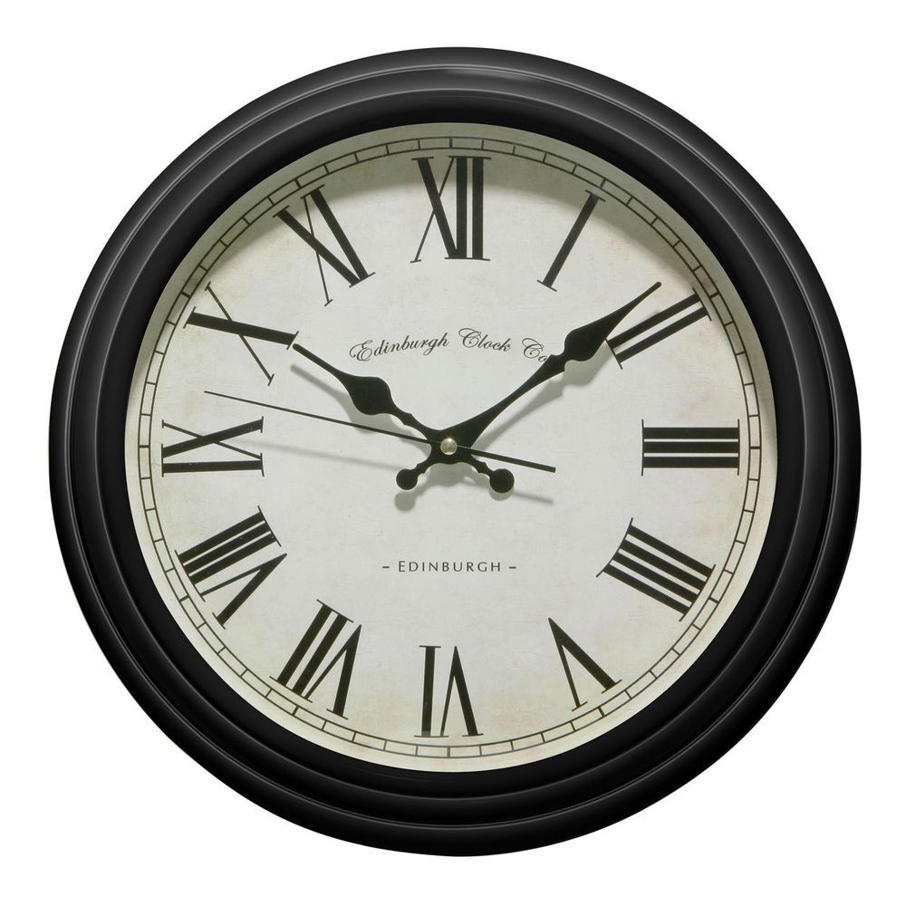 Superb Large Black Kitchen Clock Part - 14: 36cm Large Vintage Style Shabby Chic Edinburgh Design Bedroom Black Wall  Clock