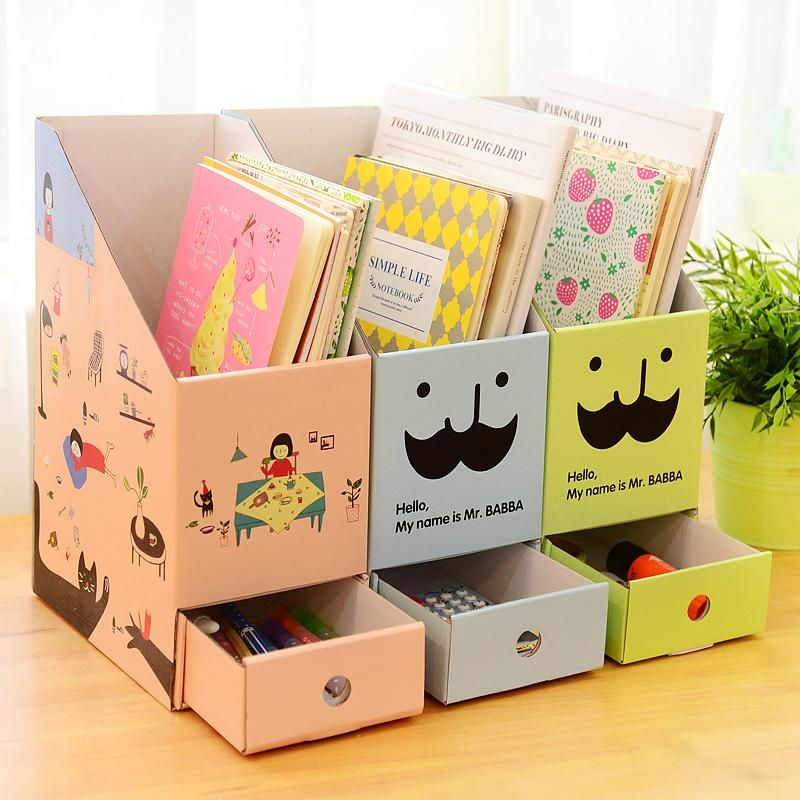 3pcs Lot Korean Cute Diy File Holder Book Magazine Organizer Box