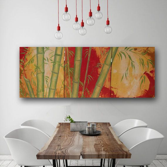 Bamboo Asian Large Painting Three Canvas Sofa Size Abstract