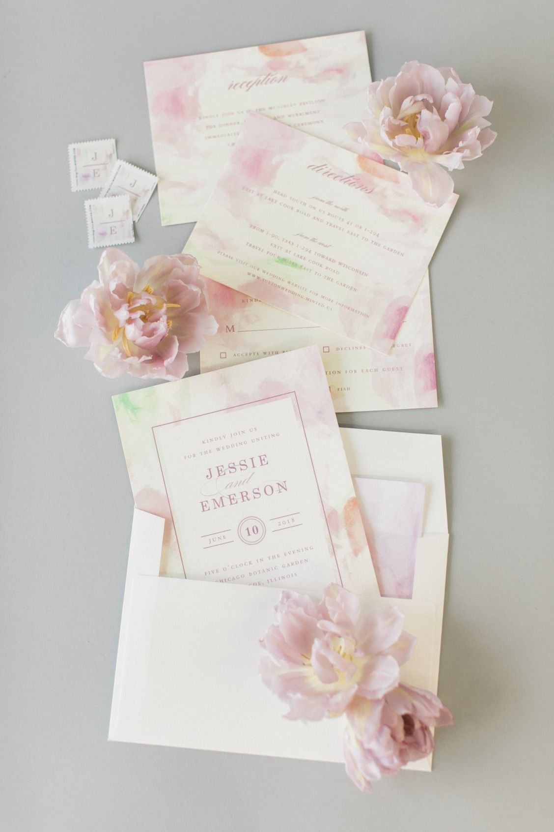 Whimsical cotton candy inspired wedding invitation by Minted artist ...