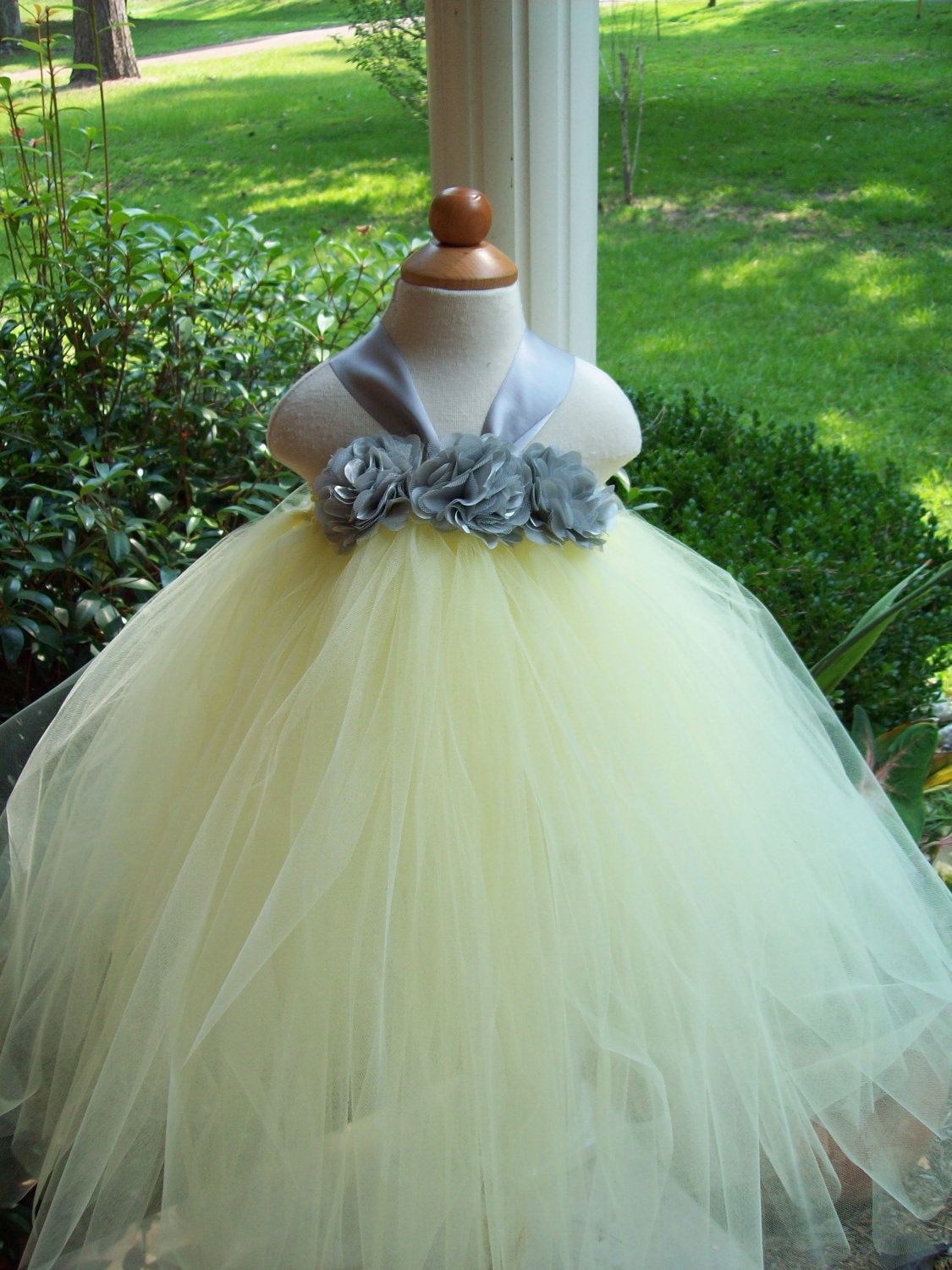 Gray And Yellow Tutu Dress 5000 Via Etsy Flower Girls Dress