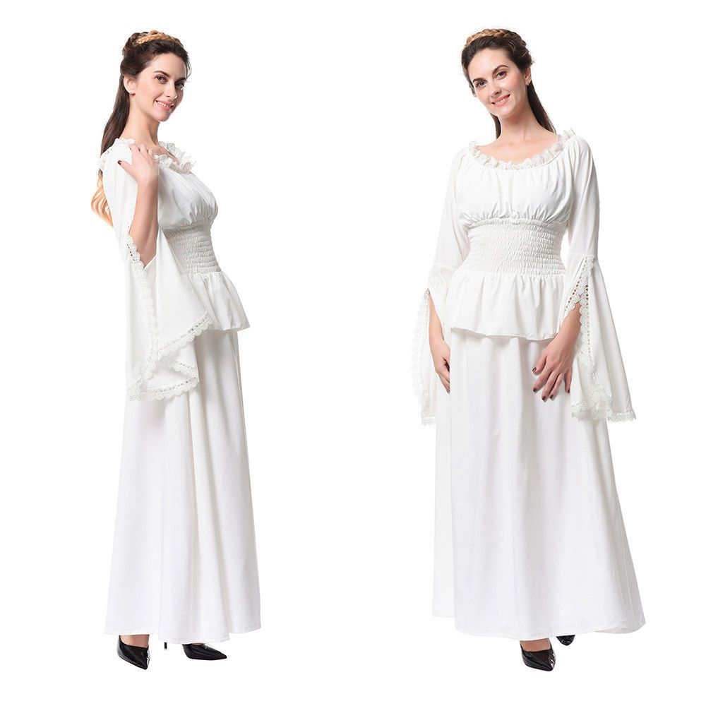 Cool awesome medieval renaissance costume white chemise women off