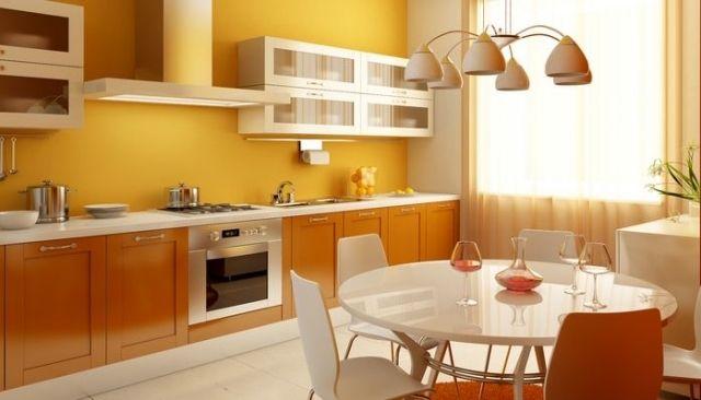 farbe küche gelb orange schrankfronten weiße essmöbel | [ Farbe in ...