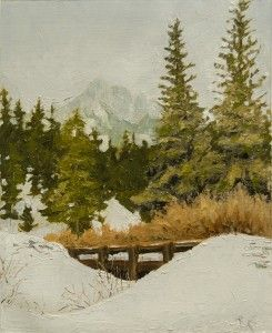 Plein air from February Mountain Snow on Bridge 2017 --from RachelSteely.com