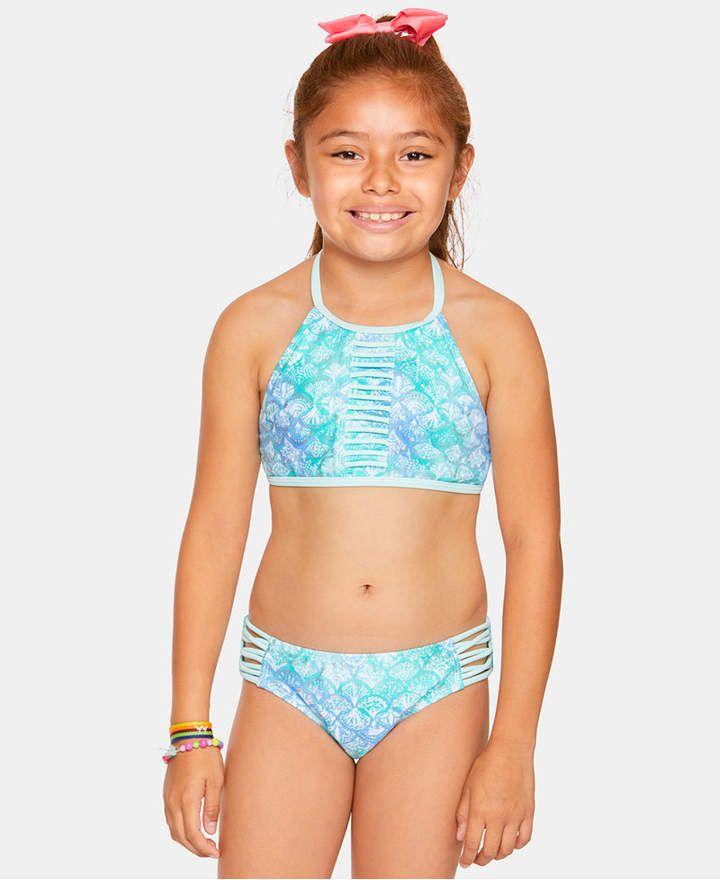 06280ac8afb9 Summer Crush Big Girls 2-Pc. Printed Strappy Bikini Girls Bathing Suits, Two
