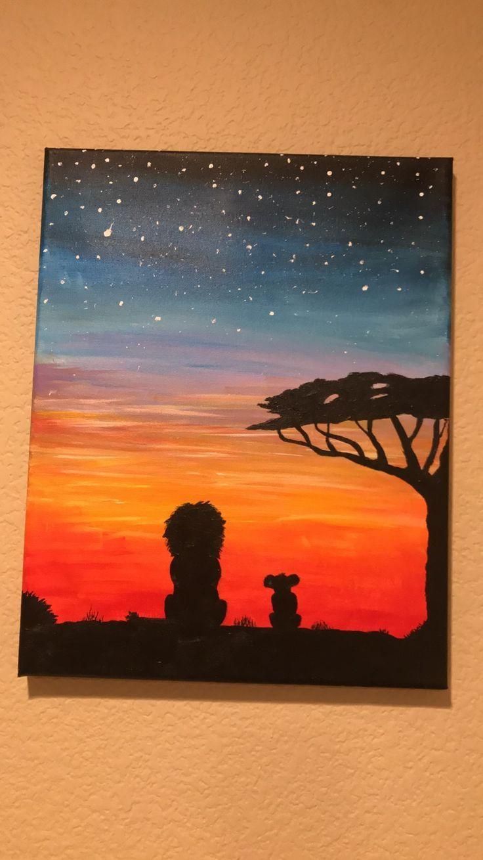 Untitled Disney Canvas Art Cute Canvas Paintings Sunset Canvas