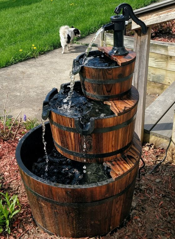 3 Tier Wooden Water Fountain With Pump Barrel Fountain 400 x 300