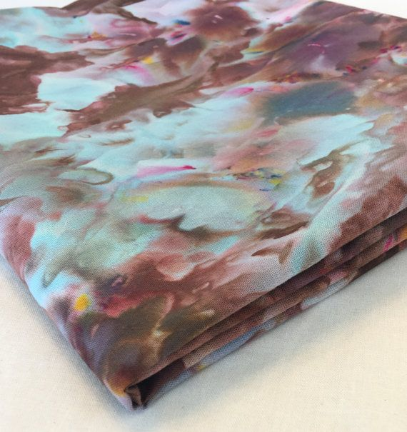 Ice Dyed Cotton Fabric, 1 Yard, Chocolate Brown - Turquoise, Quilt ... : hand dyed fabric for quilting - Adamdwight.com