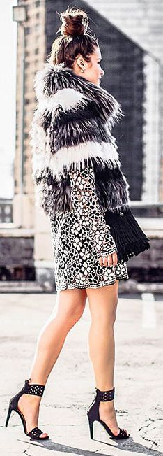 Sarah Styles Seattle B W Floral Lace Little Dress Fall Inspo