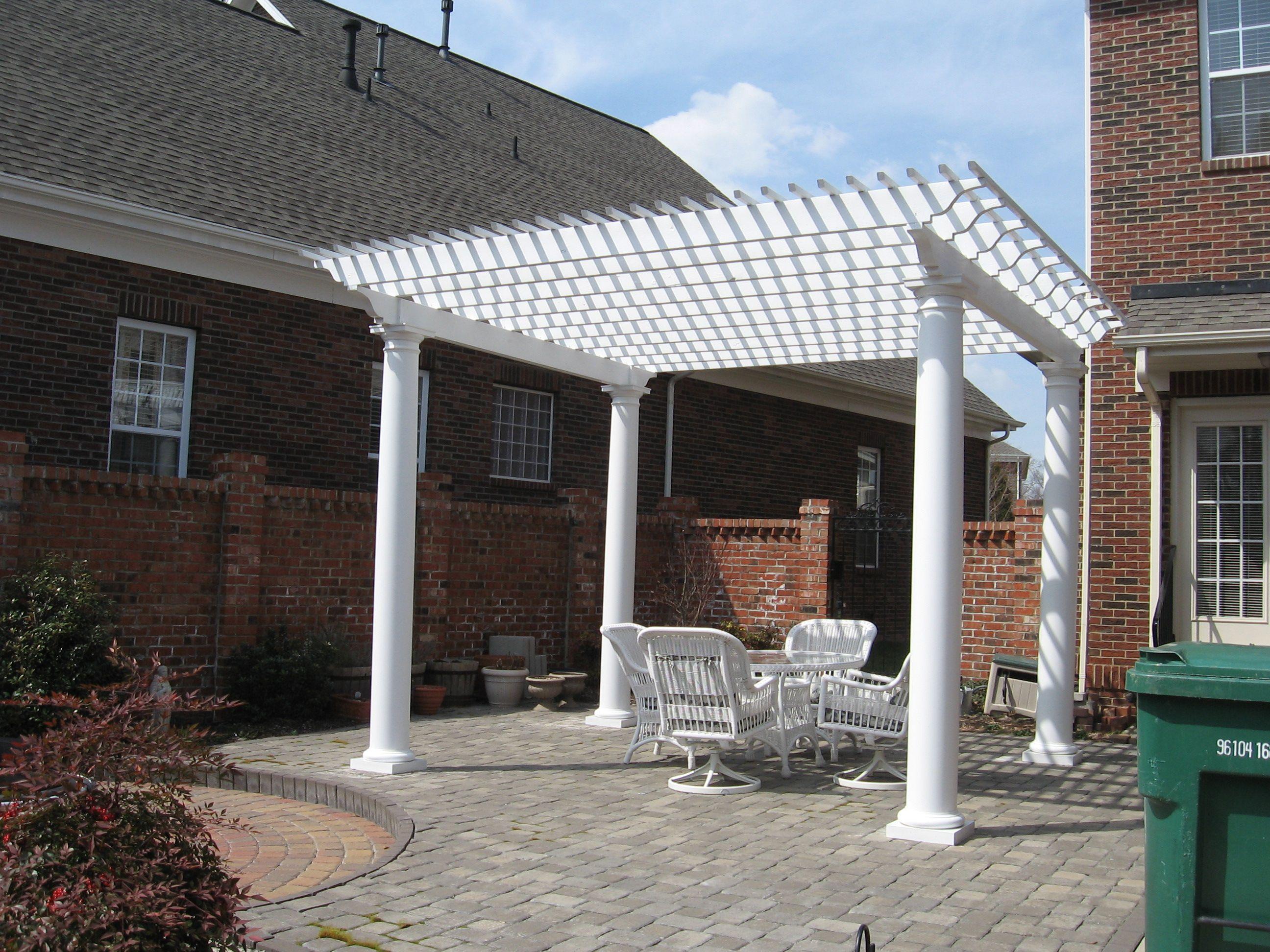 Good Pergola Next To Scren Porch | White Pergola And Paver Patio In Charlotte,  NC By