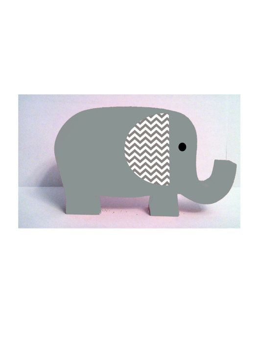 Elephant Nursery Decor Wooden Gray By Thewoodenowl 15 00