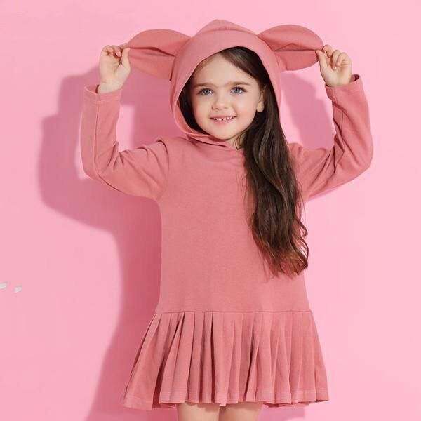 Pink Rabbit Ears Hooded Long Sleeve Dress for Girls - Little TroubleMakers  Kids Toys and Fashion 67c681c07