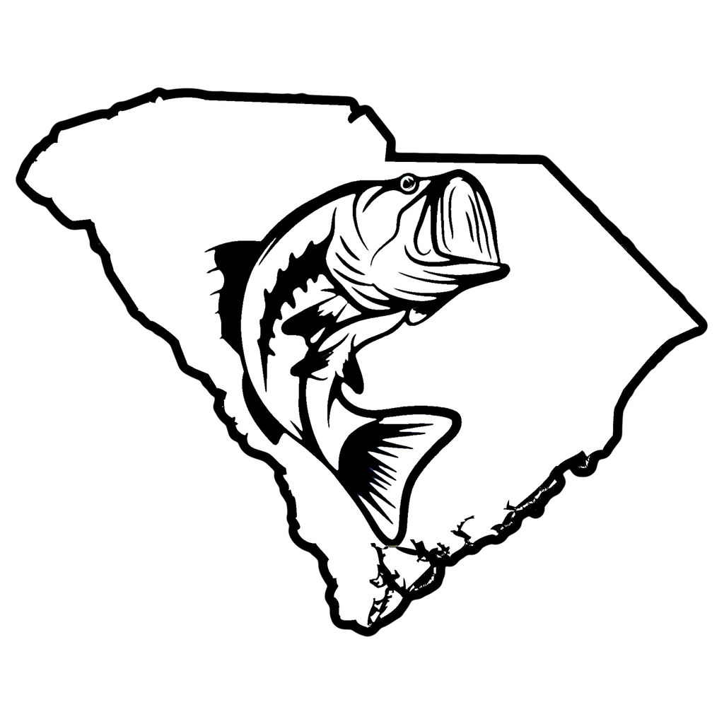 South Carolina Outline With Fish Vinyl Decal State Outline Vinyl Decals Outline