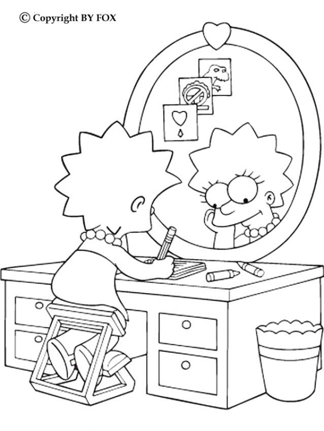 Lisa And Her Personal Diary Coloring Page More The Simpsons