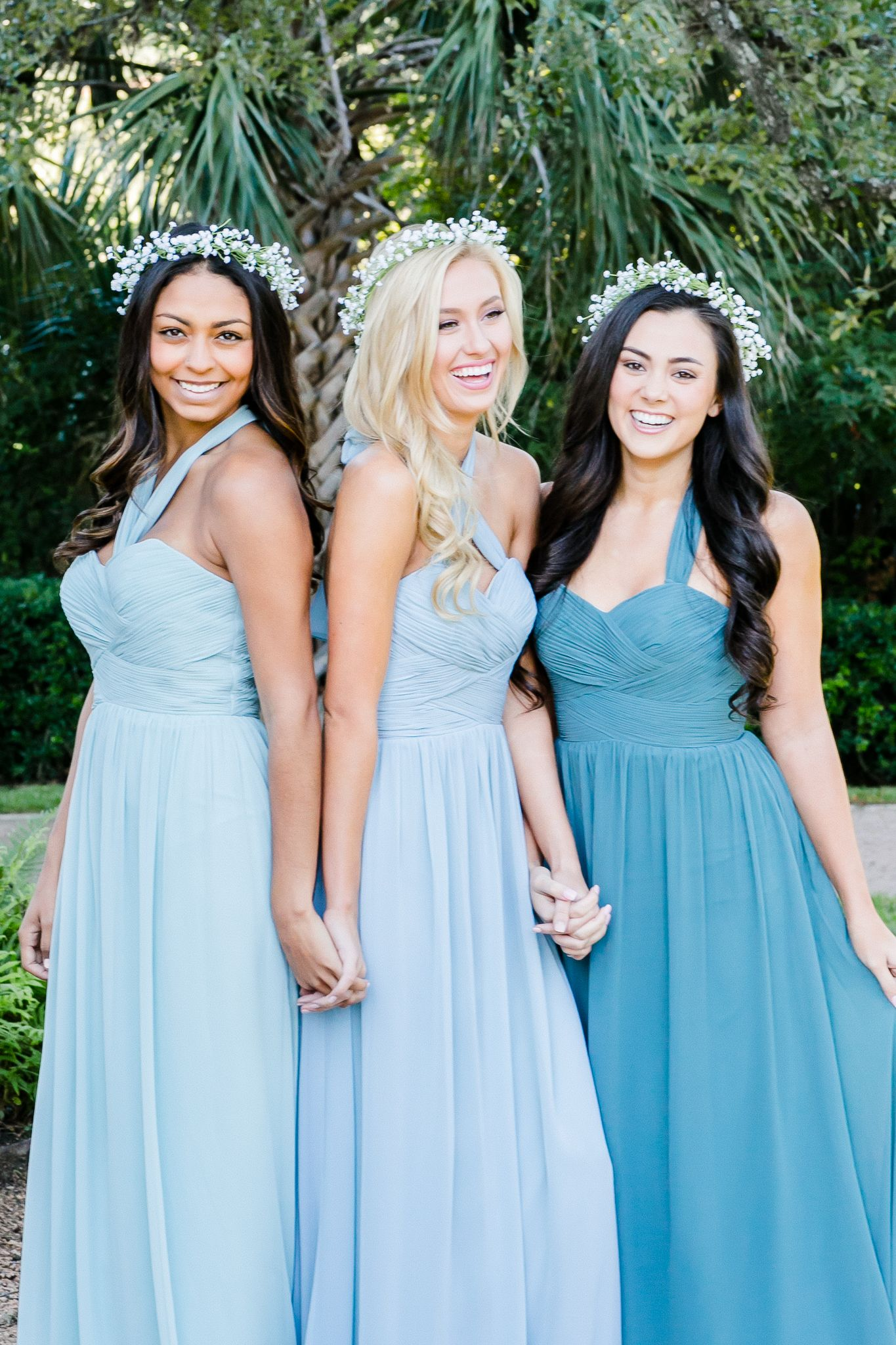 e6ec554a79f10 Mix and Match Revelry Bridesmaid Dresses and Separates. Kennedy Convertible Chiffon  Bridesmaids Gowns pictured in Powder Sky, Love Bird, and Desert Blue ...