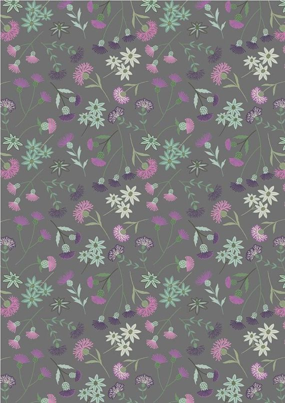 Thistle Floral On Gray Celtic Blessings Lewis Irene Fabric By