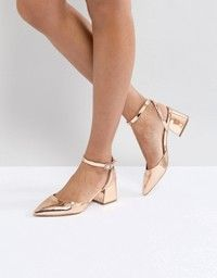 ac36714a55a2 RAID Lucky Rose Gold Ankle Tie Block Heeled Shoes in 2019