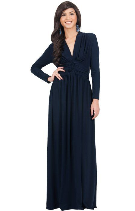 5cf8931b9b Koh Koh Women s Vintage Inspired V-neck Long Sleeve Evening Maxi Dress -  X-Large - Navy Blue