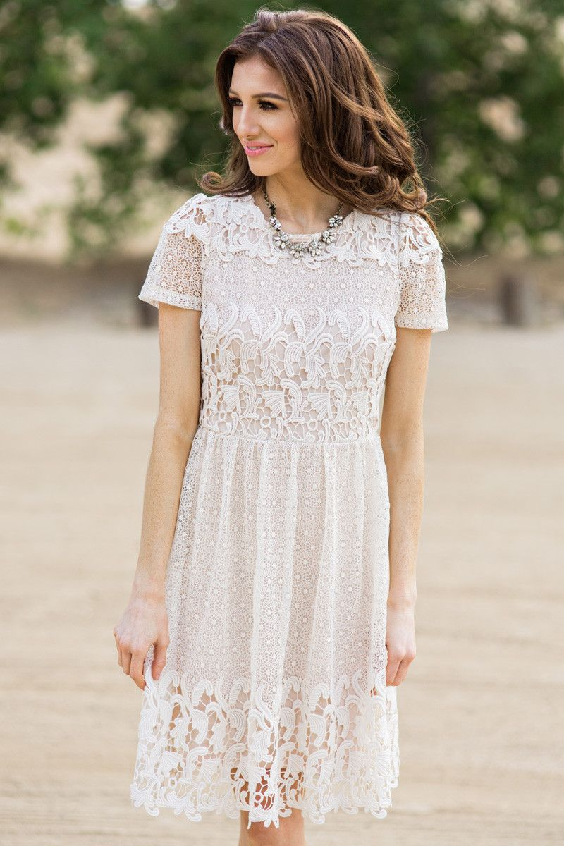 62aa91edbae13 Cream Lace Dress, Lace Dresses for Women, Spring Outfit Inspiration ...