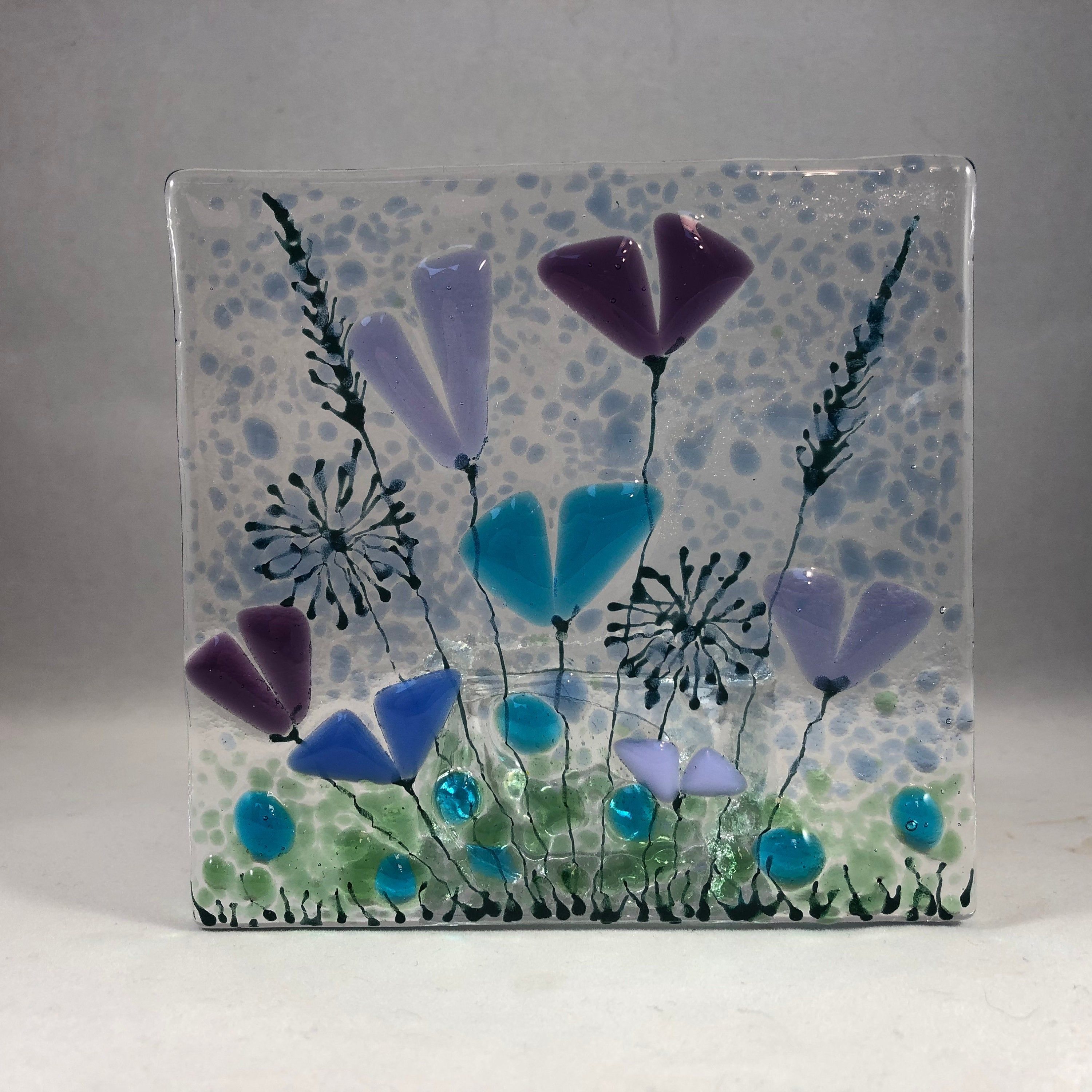 Floral Glass Plaque Candle Display Blue And Purple Flowers