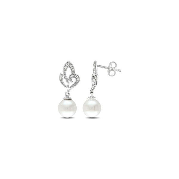 Zales 8.0mm Cultured Freshwater Pearl and 1/10 CT. T.w. Diamond Drop Earrings in Sterling Silver QnEDkn4hrg