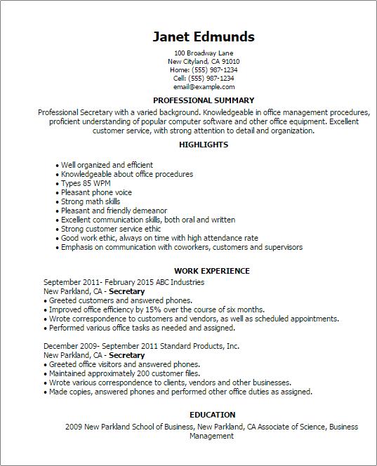 resume examples secretary    examples  resume