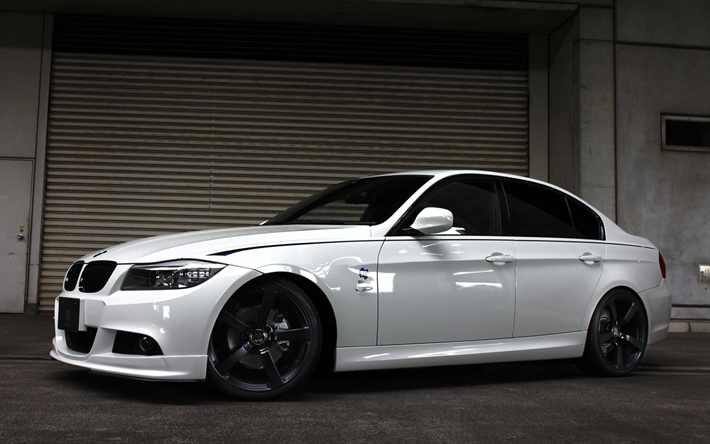 Download wallpapers BMW M3, tuning E90, 3 Series, white ...