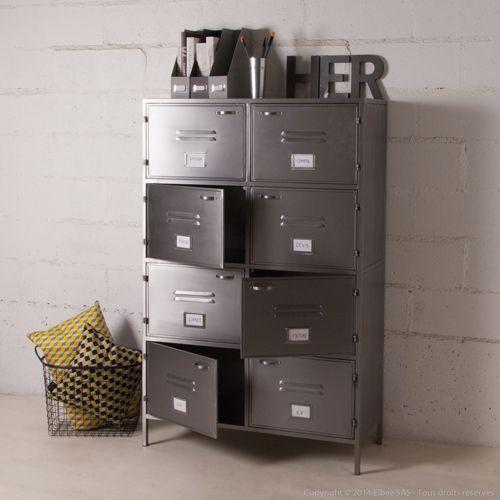 Bibliotheque Metallique Grise 8 Casiers Decoclico Factory Filing Cabinet Home Decor Decor