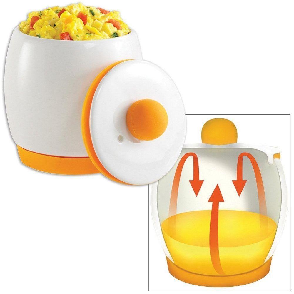 Egg-Tastic Microwave Egg Cooker and Poacher for Fast and Fluffy Eggs, White/Orange