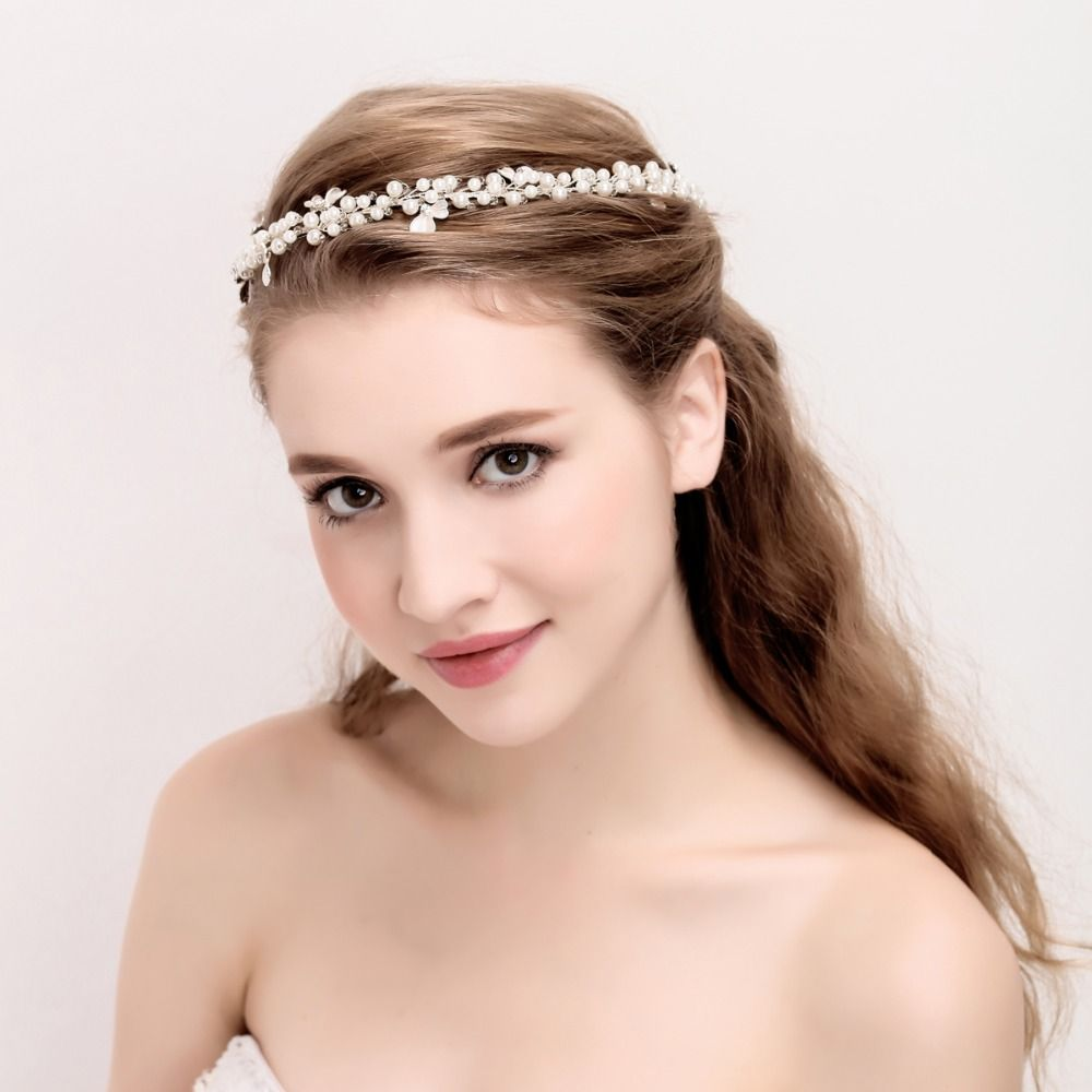 Click to Buy ucuc Simple Pearls Bridal Headband Silver Plated Flower