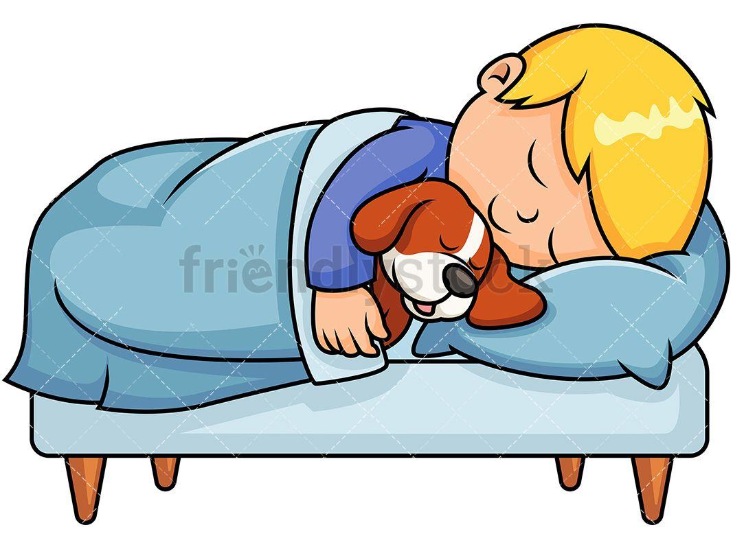 Kid Sleeping Together With Dog Cartoon Vector Clipart