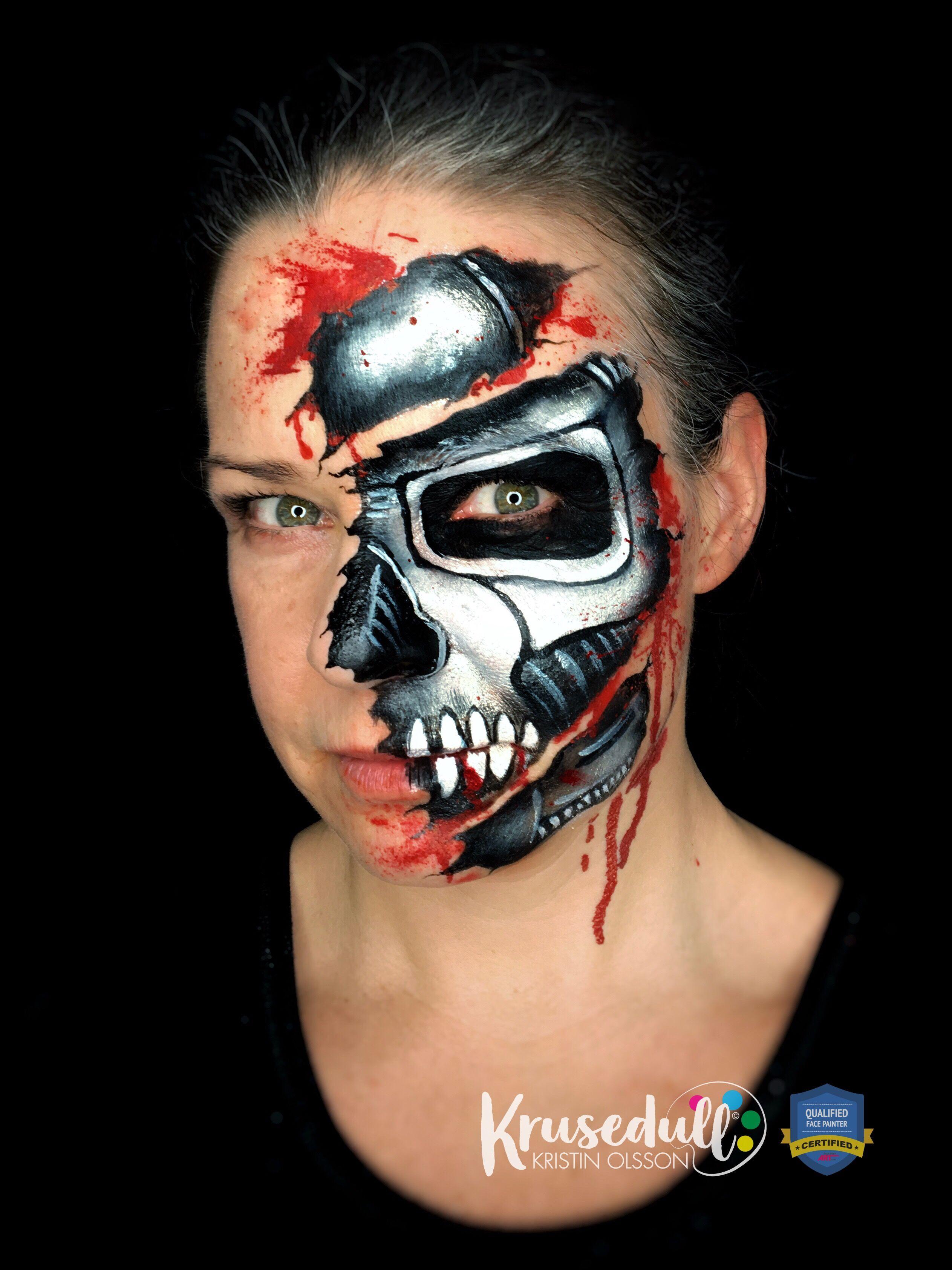 Terminator Face Painting Design Facebodyart Com Face Painting Halloween Halloween Makeup Looks Terminator Makeup
