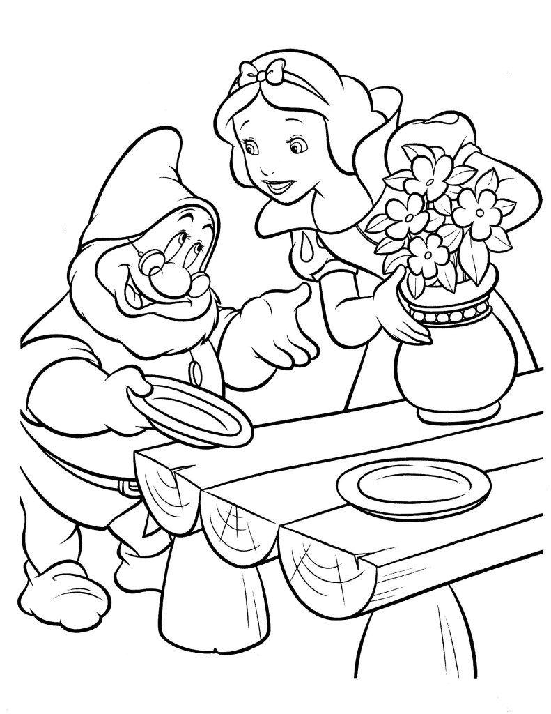 Malvorlagen Zwerge Prinses Kleurplaatjes Kleurboek Sneeuwwitje
